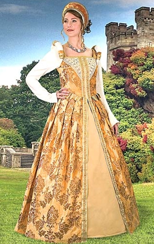 Anjou early Renaissance Gown in gold brocade