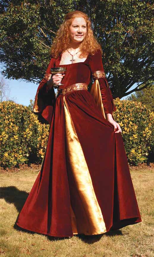 Berengaria Gown - sumptuous burgundy velvet with gold underskirt and sleeve linings, hand-beaded trim on sleeves and waist.