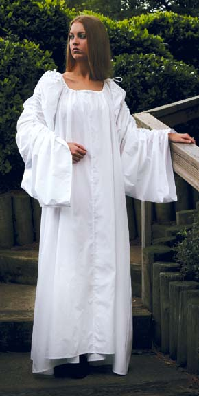 Celtic Chemise in white only, very long, full sleeves tie at the shoulders, sizes to XX-Large.