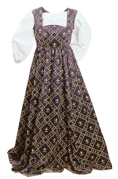 Fleur de Lis Dress - empire waist dress in 16th Century style, navy with gold fleur-de-lis pattern, wear with any of our white or cream chemises.