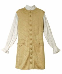 Long vest in rich brocade accented with antiqued buttons, adjustable belt in back. Gold or silver.