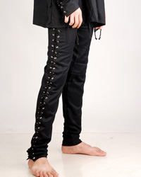 These goth pants, with metal grommets and lacings all the way down the legs for a snug fit, match our Bully Hayes shirt for a great Goth look.