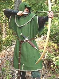 European Medeival Long Bow in European hardwood with bowstring and two Medieval needle bodkin tipped arrows
