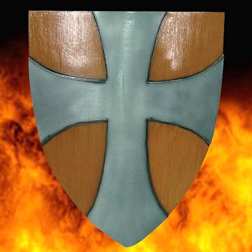 Classic Knightly shield in faux woodgrain finish centered with iron cross.  Quality latex item for LARP.