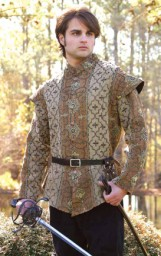 Royal Court Doublet of rich brown, tan and gold cotton brocade.