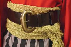 Wide pirate belt in brown leather with brass buckle, 56 inches long, 2.75 inches wide. Looks great over a pirate sash, like the gold metallic one pictured.