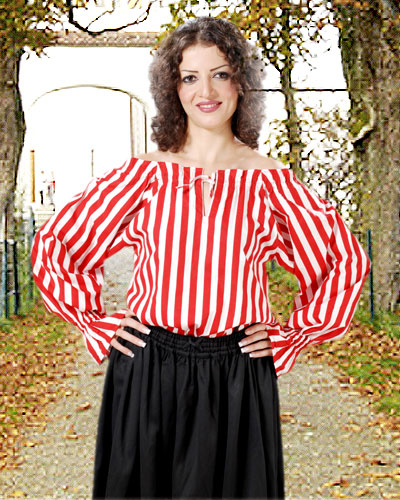 Anne Bonney Pirate Blouse in red and white stripes, also available in black-white and black-red stripes.