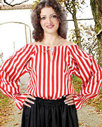Striped Anne Bonney Pirate Blouse shown in red-white stripes, also availablein black-white and black-red stripes.