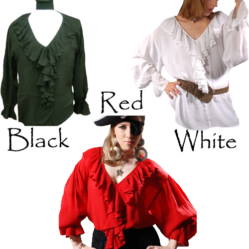 Barbossa Blouse of rayon crepe, plunging vee neckline, frills around neck, front and at cuffs of full, loose-fitting sleeves. 3 colors, sizes to XXL.
