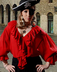 Barbossa Pirate Blouse in viscose velvet with ruffles around neck, down front and on cuffs of very full sleeves.  Red, white or black in sizes to XXL.