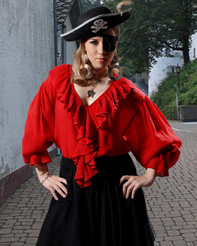 Barbossa Blouse in red - slinky rayon crepe with plunging ruffled vee neckline, very long, full sleeves with ruffled cuffs.  Long enough to wear out or tuck in.  Also in black or white, sizes to XXL.
