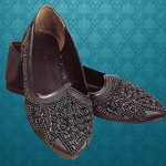 Black Beaded Satin Renaissance-style Slipper