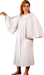 White cotton chemise with drawstring neckline and very wide, bell-shaped sleeves.