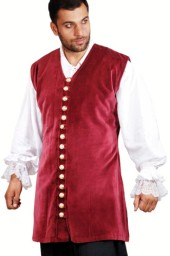 Capt. Benjamin vest in burgundy velvet with a row of gleaming, gold-tone buttons down the front