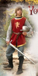 Boys Knightly Tunic, red velvet with gold trim and silver imitation mail shirt