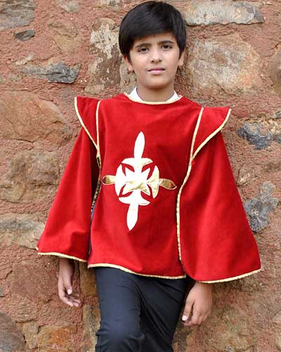 Boys red musketeer tabard wth gold trim