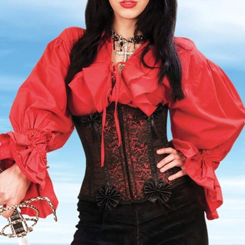 Closeup view of black and red brocade corset.