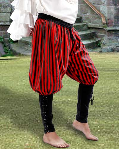 Buccaneer pants in red and black stripes with black cuffs.