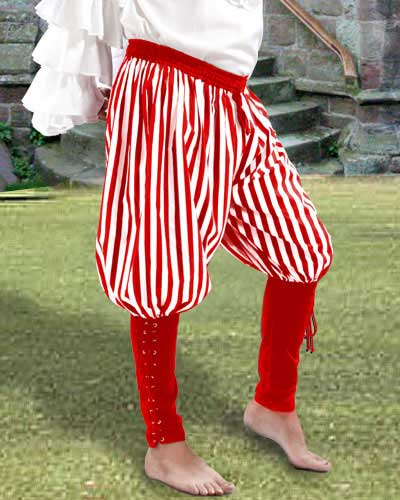 Buccaneer pants in red and whte stripes with red cuffs.
