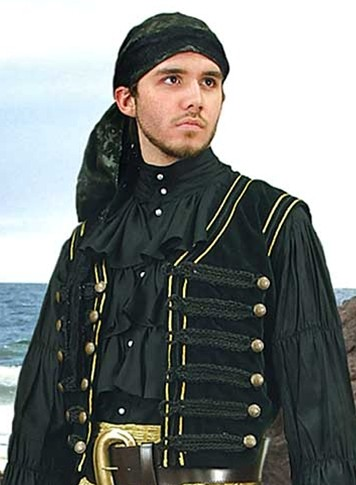 Black velvet pirate vest with  Napoleonic style gold braid and button trim.