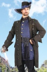 Blackbeard coat in black on black cotton brocade.