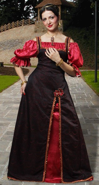 Renaissance Princess Dress in black with red satin chemise