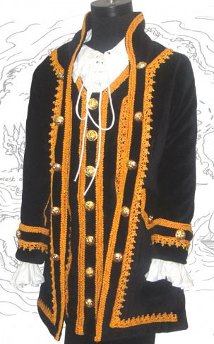 Boys Capt Jack Pirate Coat in black velvet with gold braid and button trim.