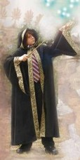 Boys black velvet wizard robe with wide metallic gold trim.
