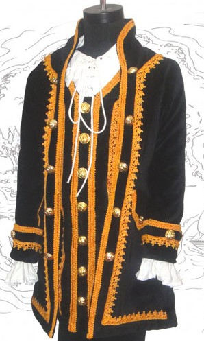 Boys' Capt Jack Coat, black velvet with gold braid and button trim