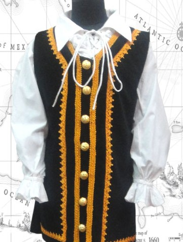 Boys' Bapt Jack vest, black velvet with gold braid and button trim