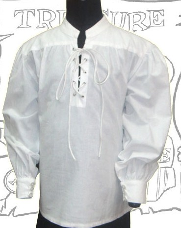 Capt Brower buccaneer shirt in white cotton