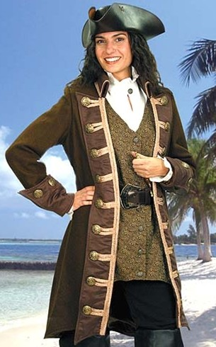 Mary Read Pirate Coat in brown wool with ultrasuede collar, cuffs and lapels.