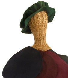 Renaissance style flat cap in hunter green, black, burgundy, brown and navy.