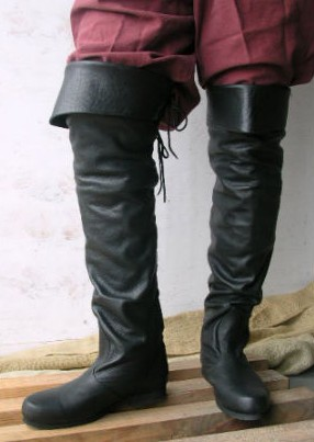 Jolly Roger black leather thigh-high boot.