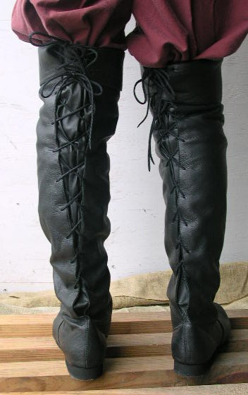 Back view of Jolly Roger leather thigh-high boot.
