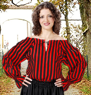 Anne Bonney Pirate Blouse in black and red stripes.