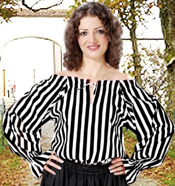 Anne Bonney Pirate Blouse in black and white  stripes.