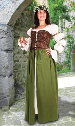 Brown faux suede lace-up corset with attached green skirt, wear over any chemise.