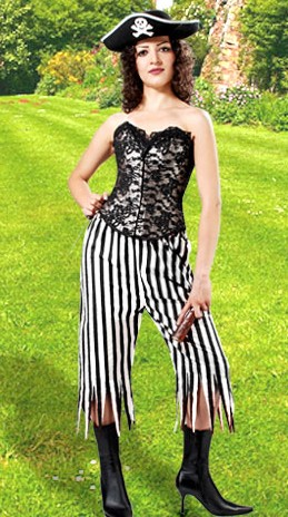Pirate wench pants, black and white stripes