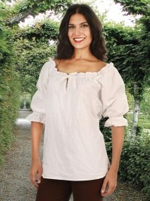 Faire blouse in off-white. Also in black or white.