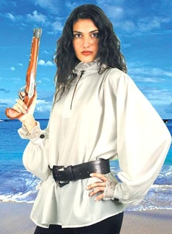 Mary Read Pirate Shirt - white only, very full sleeves, ruffled neck and ciffs