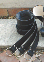 Black leather ring belts - 70 inches long, 1.75 inches wide, hand-dyed so dye will not rub off on clothing.