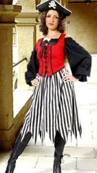Pirate skirt in black and white stripes.