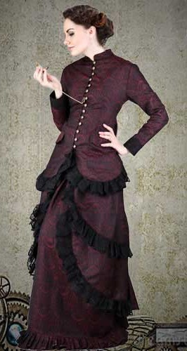 Brocade dinner dress in rich burgundy brocade