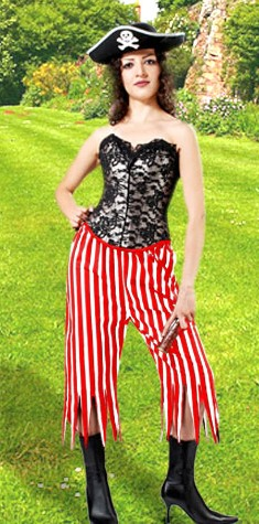 Pirate Wench Pants in red and white stripes.