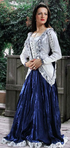 Surcoat style overdress in silver and dark blue velvet