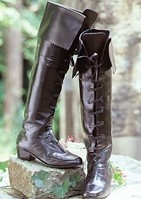 Ladies Tall Renaissance Boot - 20 inches tall, black leather, 1.5 inch heel.