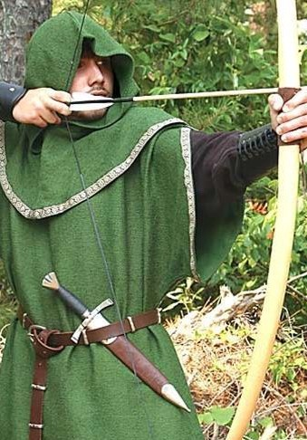 Huntingdon Archer's Tunic in forest green with brown Medieval trim