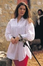 Swordswoman Shirt in white or black cotton, loose flowing sleeves, lace-up cuffs for close fit.
