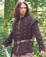 Robin Hood Gambeson - heavy 2-pc. garment - corduroy undershirt with padded and studded sleeves and a quilted, sleeveless corduroy gambeson, both in chocolate brown.